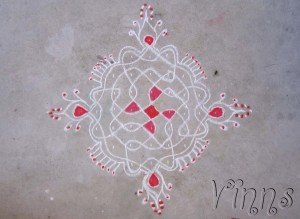 Sikku kolam in red