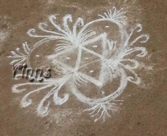Freehand flower kolam