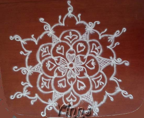 Hearts kolam for valentine s day