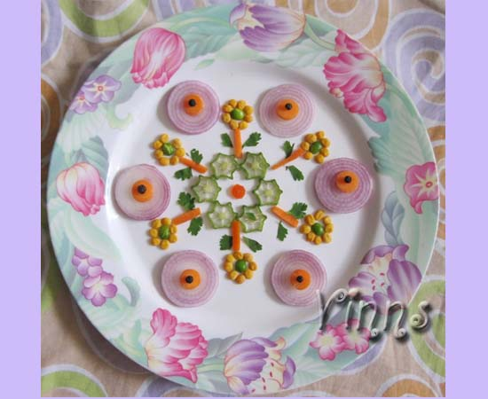 Kolam rangoli done with vegetables