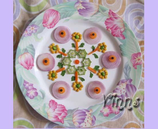 Kolam rangoli done with vegetables