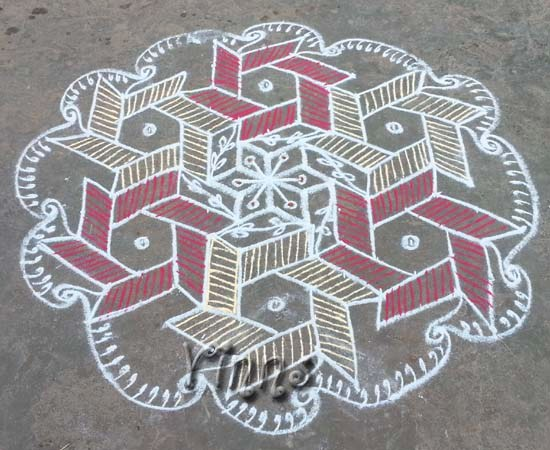 Muggulu natchira kolam 13 Pulli interlaced kolam