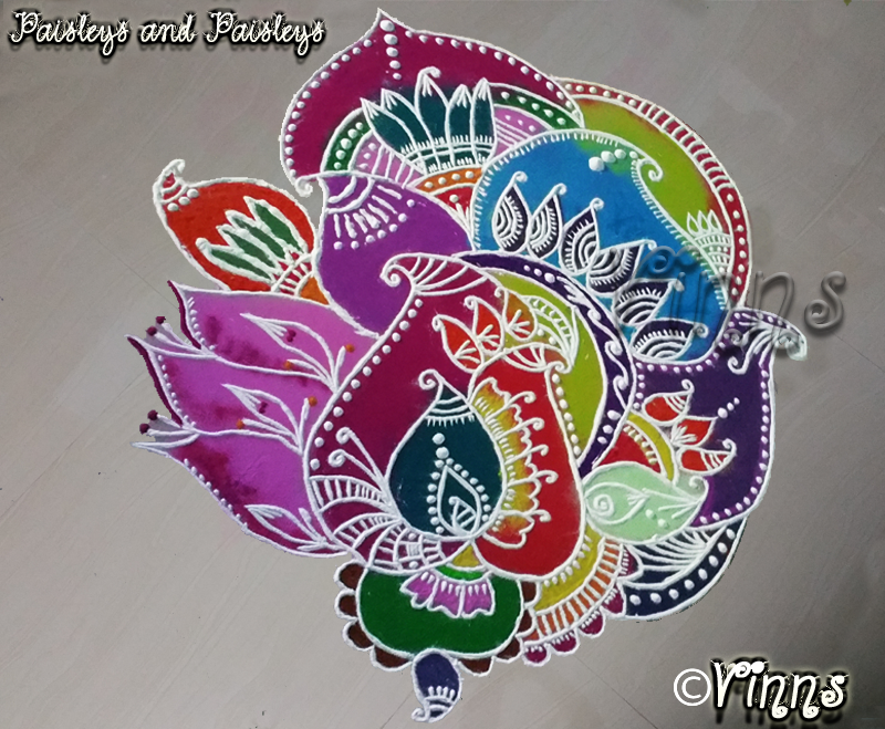muggulu, freehand, mango deisgn, peacock design