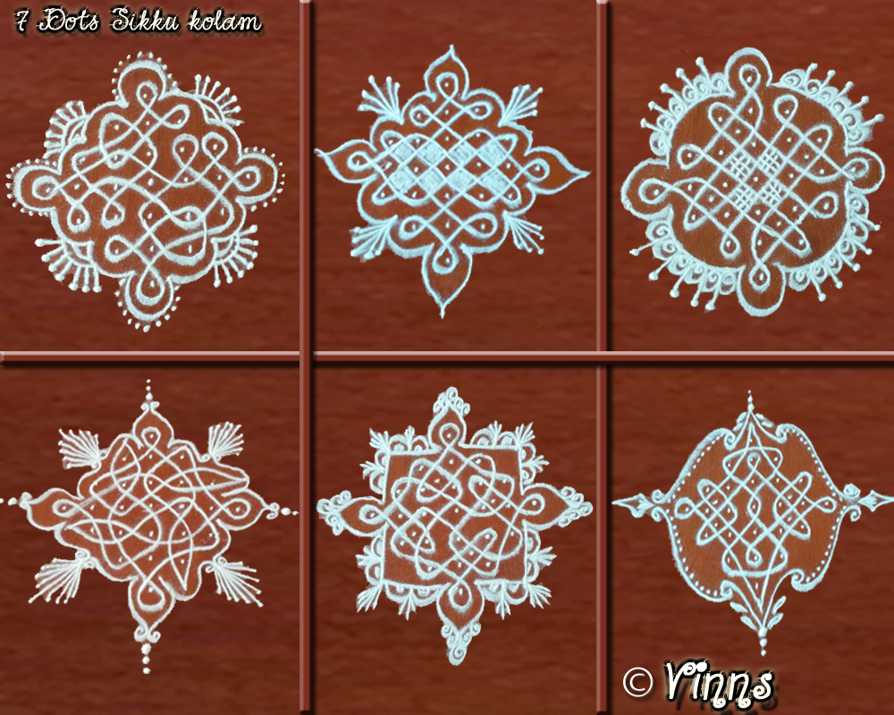 7 dots kolam, small kolams, collection, muggulu, rangoli, rangavallika