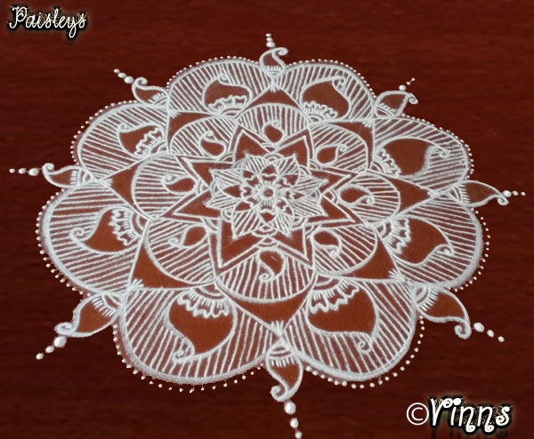 Mango design, fabric design, big kolam