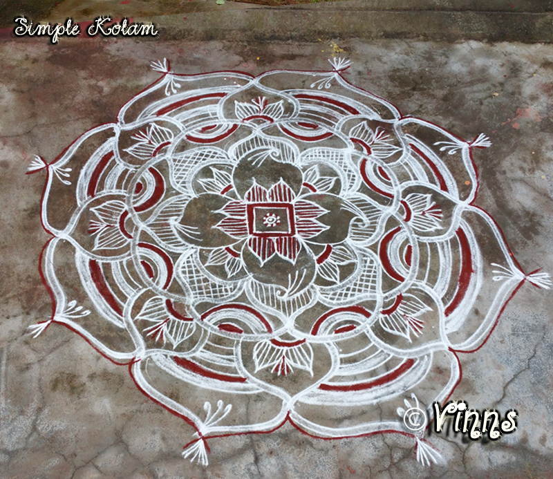 freehand kolam with kavi vinns kolam