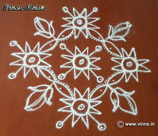 12 Dots Flower kolam    Chukkala Muggulu    Small Rose Rangavalli