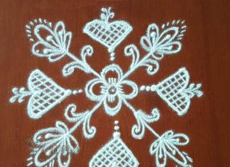 7 Dots Flower Kolam, Chukkala Pushpam Muggulu