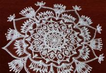 Freehand Lotus Kolam || Chukkaleni Muggulu || Dotless Big Rangoli in White