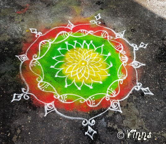 simple kolam, new design, daily kolam, colour kolam