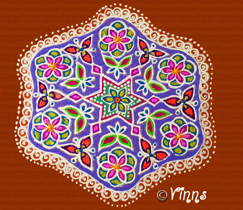 Big flower kolam, colour kolam