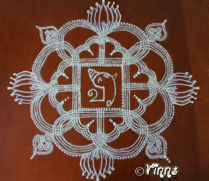 pillaiyar chathurthi, ganesha chathurthi, padikolam, manai kolam, kanya kolam, ezhai kolam, chathurthi kolam