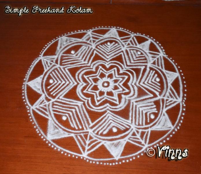 Simple Freehand Kolam for beginner || Chukkaleni Muggulu || Rangoli in White